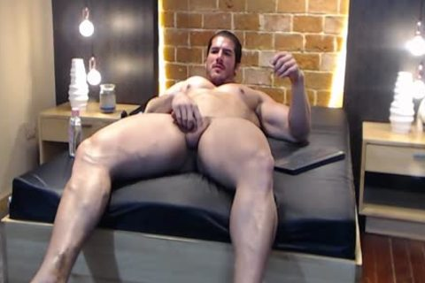 enormous Latin Bodybuilder shoots A Load And Eats It!