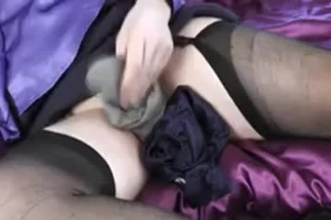 Nylon wank In Blue Satin