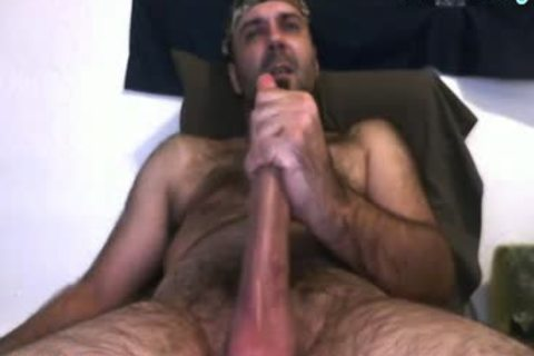 Daddy Bear jerking off His 10 Inches penis And Cumming