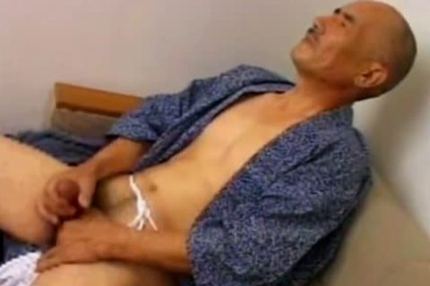 mature Japanese Daddy Solo shot Jack Off Scene.
