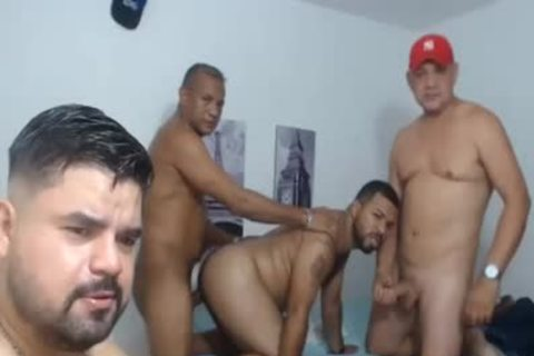 4 older men pounding In Live