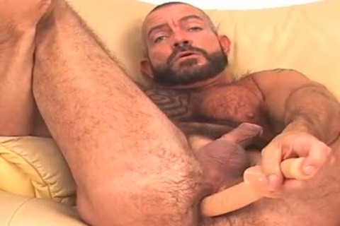 large and shaggy, bearded BEAR works arsehole w/ dildo