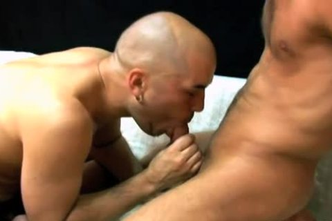 Bald dude sucks a bulky dick & acquires nailed hard